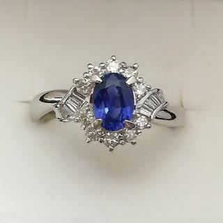 ブルー薄めです! 綺麗かわいい(*≧з≦) サファイア✨ダイヤリング Pt900(リング(指輪))