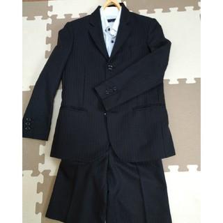ヒロミチナカノ(HIROMICHI NAKANO)の男の子スーツ4点セット☆ヒロミチナカノ☆130cm☆黒シャドウストライプ(ドレス/フォーマル)