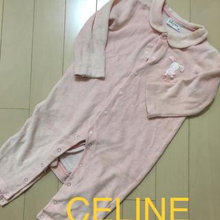 celine - 女の子セリーヌCELINE80センチ長袖ロンパースピンクかわいい秋冬物