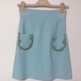 ミュウミュウ(miumiu)のmiumiu ビジューポケットスカート 36 アイスブルー 水色(ミニスカート)