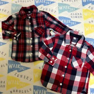 ムジルシリョウヒン(MUJI (無印良品))の無印良品 チェックシャツ 80 長袖 2枚セット(シャツ/カットソー)