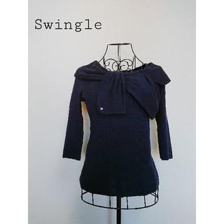 Swingle - swingle スゥイングル 襟元 デザイン 紺 ブラウス