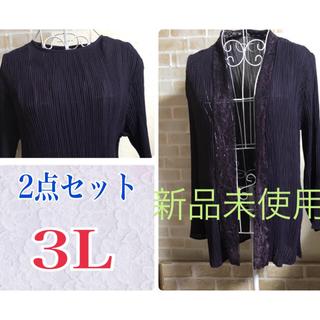 【3Lサイズ】*アンサンブル☆レースカーディガン・ブラウス2点セット☆新品未使用(アンサンブル)