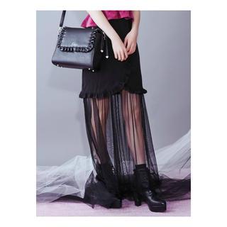 イートミー(EATME)の2WAYフリルチュールコンビスカート(ブラック)(ロングスカート)