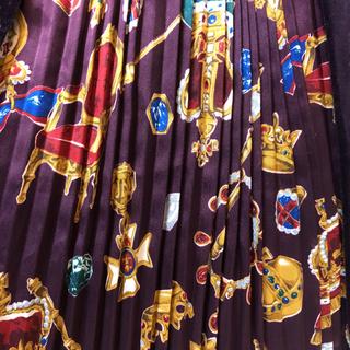 ジェーンマープル(JaneMarple)のジェーンマープル  王室ptアコーディオンプリーツ 別珍スカートボルドー(ひざ丈スカート)