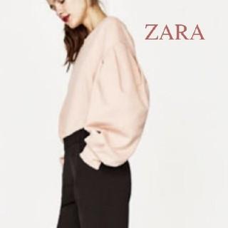 ザラ(ZARA)の送料込み!ZARAバルーンボリューム袖スウェットトレーナー♡ピンク(トレーナー/スウェット)