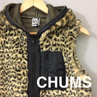 チャムス(CHUMS)のチャムス CHUMS ベスト アウター レオパード柄 ロゴ 刺繍 胸ポケット(その他)