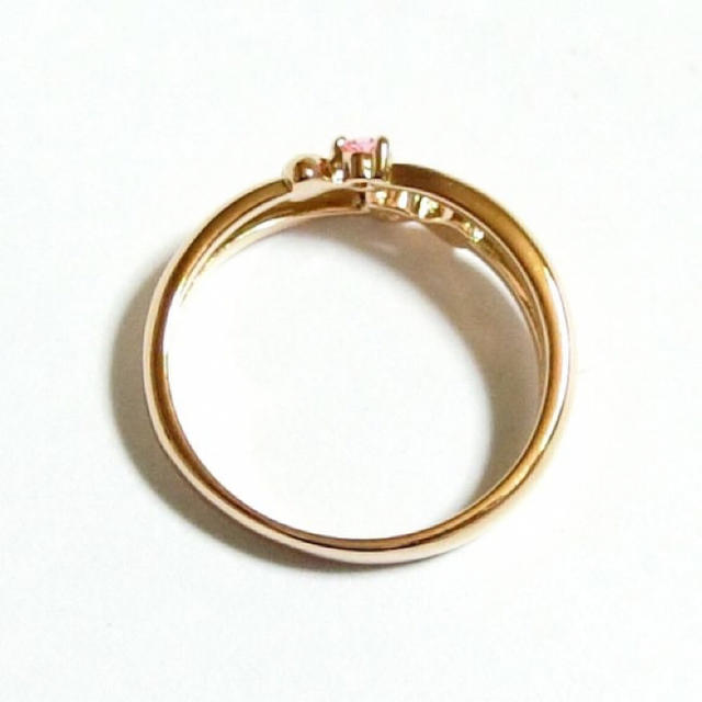 3号 ピンキー スワロフスキー ダブルハート ライトローズ ピンクゴールドリング レディースのアクセサリー(リング(指輪))の商品写真