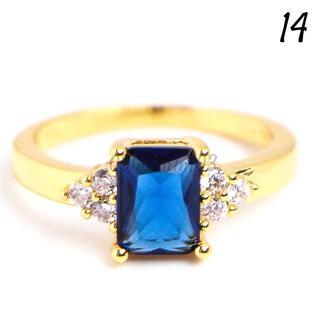 G19 リング 14号 人工石 サファイア ゴールド レディース(リング(指輪))