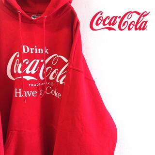 コカ・コーラ - 古着 企業ロゴ コカコーラ パーカー プルオーバー フルーツオブザルーム