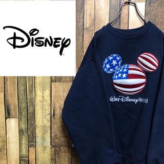 Disney - 【激レア】ディズニー☆マカオ製星条旗柄ミッキーマークビッグ刺繍スウェット 90s