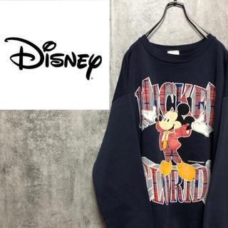 Disney - 【激レア】ディズニー☆USA製ミッキーキャラクタービッグロゴスウェット 90s
