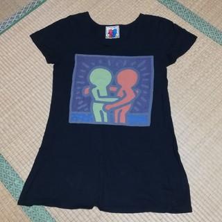スライ(SLY)のSLY × keith haring 黒 コラボ Tシャツ ワンピ(Tシャツ(半袖/袖なし))