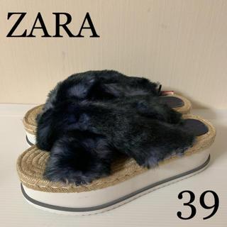 ザラ(ZARA)の新品タグ付  ZARA ファーサンダル  39(サンダル)