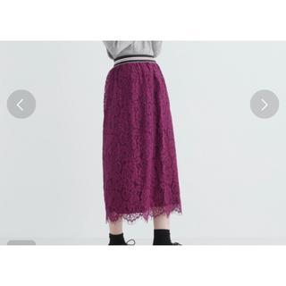 メルロー(merlot)のmerlot レーススカート(ひざ丈スカート)
