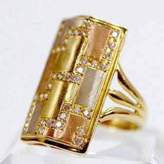 K14 ダイヤ⒈4ct シールドリングゴールド GOLD RING #17(リング(指輪))