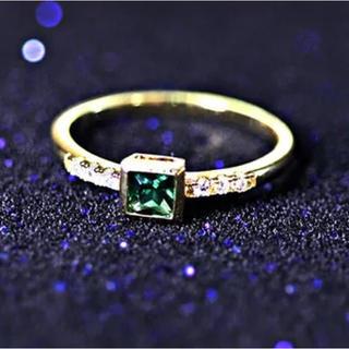ゴールド グリーンストーン リング 指輪(リング(指輪))