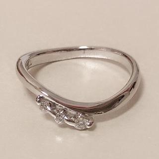 K18WG 美品♥ダイヤモンド 0.05ct ピンキーリング(リング(指輪))