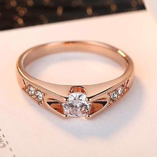 スワロフスキー(SWAROVSKI)のスワロフスキー リング 指輪 一粒 18金RGP  (ピンクゴールド)(リング(指輪))