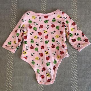 ブリーズ(BREEZE)の肌着 ロンパース 長袖 80 breeze ピンク てんとう虫パターン(肌着/下着)