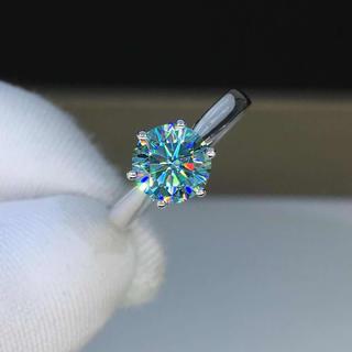 【プラチナ】ブルーグリーン モアサナイト ダイヤモンド リング(リング(指輪))
