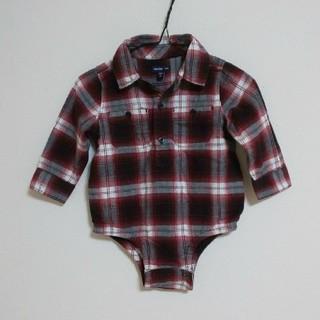 ベビーギャップ(babyGAP)の【80】babyGAP★ベビーギャップ★長袖★ネルシャツ★ロンパース★つなぎ(ロンパース)