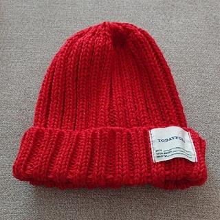 トゥデイフル(TODAYFUL)のTODAYFUL サマーニットキャップ ニット帽 ビーニー シンプル 赤 レッド(ニット帽/ビーニー)