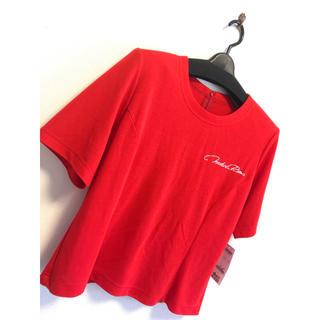 リリーブラウン(Lily Brown)の半袖 トップス 11号 秋冬 シャツ 赤 レッド ラメ  高級 シンプル あか(カットソー(半袖/袖なし))