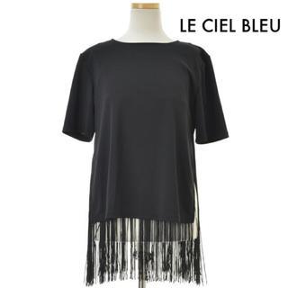 ルシェルブルー(LE CIEL BLEU)の美品 LE CIEL BLEU フリンジTシャツ プルオーバー 黒 38 秋物(カットソー(半袖/袖なし))