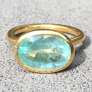 K14 コロンビア産 発光ミントグリーン エメラルド リング インドジュエリー (リング(指輪))
