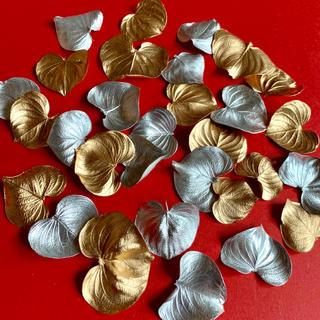 ハートリーフ シルバー ゴールド 30枚 クリスマス花材(ドライフラワー)