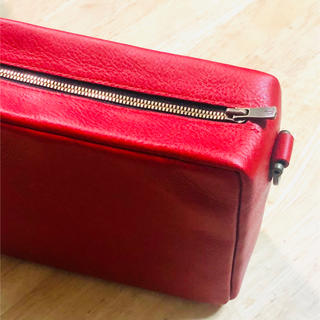 【完全オーダー】ワンハンドルバッグ、真っ赤なイタリアンレザーのバッグ、ポシェット(ハンドバッグ)