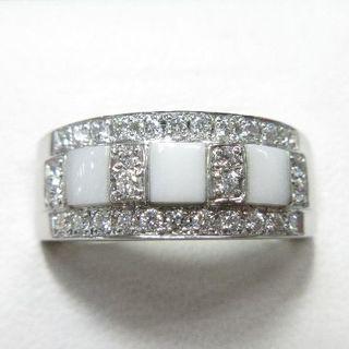 未使用品ホワイトオニキス&天然ダイヤモンド0.29ct プラチナ製指輪(リング(指輪))