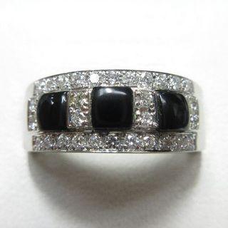 未使用品 ブラックオニキス&天然ダイヤモンド0.30ct プラチナ製指輪(リング(指輪))