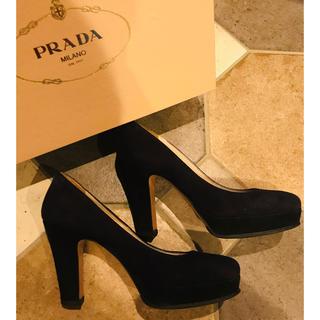 PRADA - プラダ スクエアトゥパンプス紺黒スエード35  23cm セルジオロッシルブダン