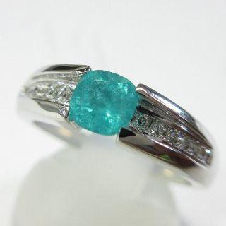 ブラジル産パライバトルマリン0.48ct 天然ダイヤモンド0.06ctPt900(リング(指輪))