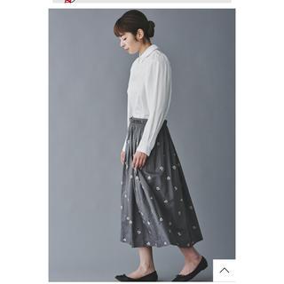 ミナペルホネン(mina perhonen)のミナペルホネン   2019AW ohayo スカート 刺繍 グレー38新品同様(ロングスカート)