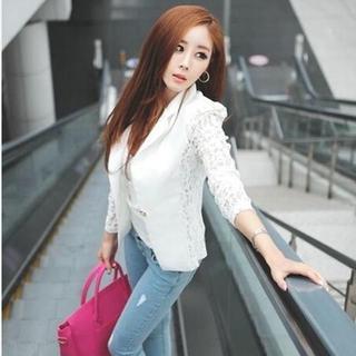 新品☆袖レース♪オシャレジャケット ホワイト XL(その他)