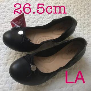 ザラ(ZARA)のモデルサイズバレエシューズフラットシューズ26.5cm黒パンプス大きいサイズ新品(バレエシューズ)