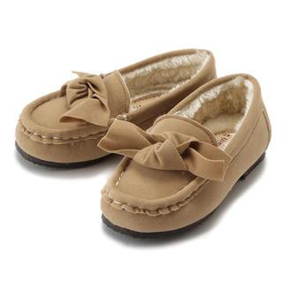 プティマイン(petit main)の新品未使用 プティマイン  モカシン 女の子 靴 リボン 14(フラットシューズ)