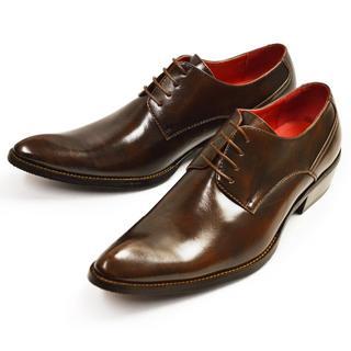 【新品】ビジネスシューズ メンズ 革靴 プレーントゥ 濃茶色 24.5~28cm(ドレス/ビジネス)