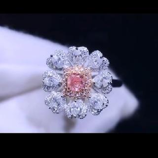 GIA♡フラワーデザイン F.L.Purplish.Pinkダイヤモンドリング(リング(指輪))
