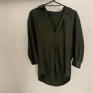 ザラ(ZARA)のZARA グリーンシャツ(シャツ/ブラウス(長袖/七分))