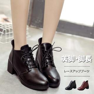 ショートブーツ 黒/ブーツ 編み上げ/冬 靴 ブーツ  (ブーツ)