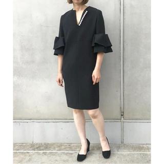 ビームス(BEAMS)のヨーコチャン Double Flared-sleeve Pearl Dress(ひざ丈ワンピース)