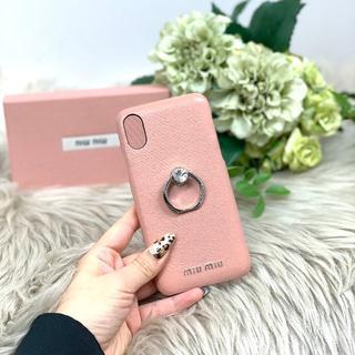 ミュウミュウ(miumiu)のミュウミュウ Iphoneケース ビジュー ピンク(iPhoneケース)
