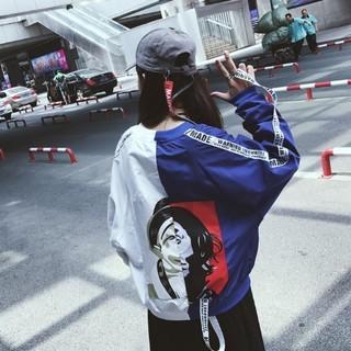 レディース ビッグシルエット アシンメトリー ジャケット 青×白(ナイロンジャケット)