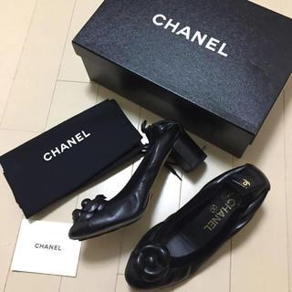 シャネル(CHANEL)のシャネル CHANEL 正規品 カメリア黒パンプス 35.5(ハイヒール/パンプス)