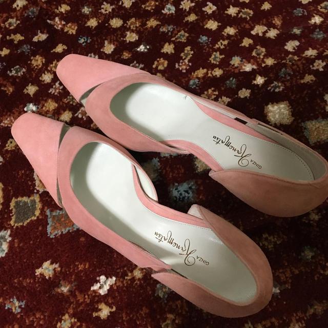 GINZA Kanematsu(ギンザカネマツ)のギンザカネマツ ピンクスゥエード生地ハイヒール レディースの靴/シューズ(ハイヒール/パンプス)の商品写真