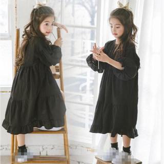 子供服 ティアード ワンピース  黒(ワンピース)